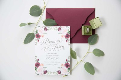 Floral Wedding Invitation for Indianapolis Wedding