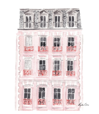 pink paris house illustration watercolor