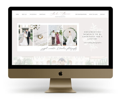 Showit Website Design Mock Up for Andi Bravo Photography, a Tulsa wedding photographer