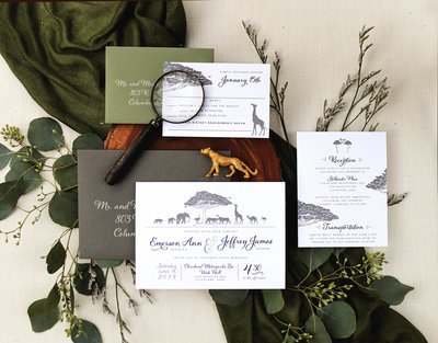 This is the perfect invitation for getting married in a zoo! The invitation features silhouetted animals gathered under and around an African Baobab tree. Under the illustration is the wedding invitation details.  5 Piece Suite