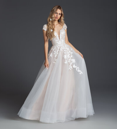 Blush by Hayley Paige bridal gown - Ivory floral embroidered cap sleeve gown, scalloped sweetheart neckline and open keyhole back, A-line skirt with cashmere lining and floral applique.