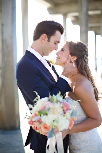 Bride and Groom at their wedding at Scripps Seaside Forum