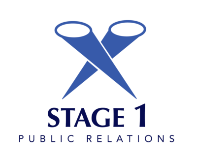 Stage 1 PR logo shows 2 spotlights to resemble that we can get your story in the spotlight. Media and Public Relations Consulting Company