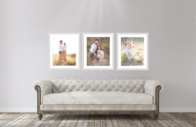 wall gallery of family, in billings mt, parents and child wearing neutral colors