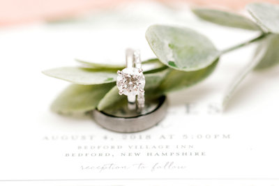 Wedding bands and Diamond Solitaire wedding photo taken by K. Lenox Photography
