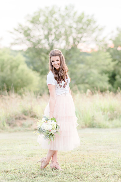 anniversary session in pink tulle skirt