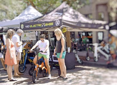 Electric Go-Bikes on display at RV Show and Boat Show