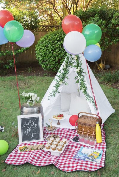 Picnic & tent outdoor birthday party