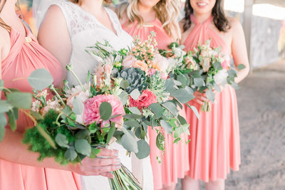 Phoenix Monorchid Wedding Photo of Bridesmaids and Bouquets by Tucson Wedding Photographer Bryan and Anh | West End Photography