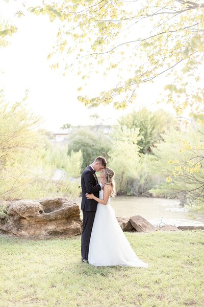 hidden pines highland village wedding couple first look