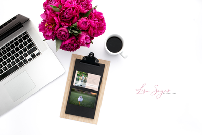 clip board and computer with roses