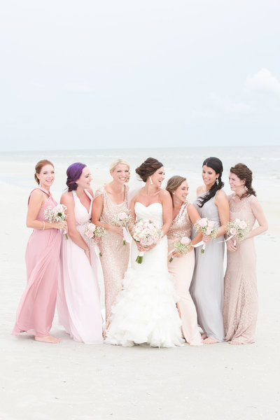Blush Beach Destination Wedding Fort Myers, Florida Bridesmaids | Amy & Jordan Photography