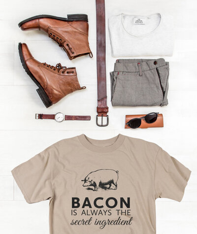 Bacon is always the secret ingredient graphic t-shirt design