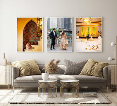 3 image composite on the wall of a bright living room.