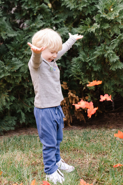 Little boy throwing leaves in the air