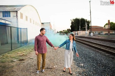 Orange Train Station Engagement Photos Urban