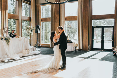 First dance during a wedding at Malcolm Hotel in Canmore