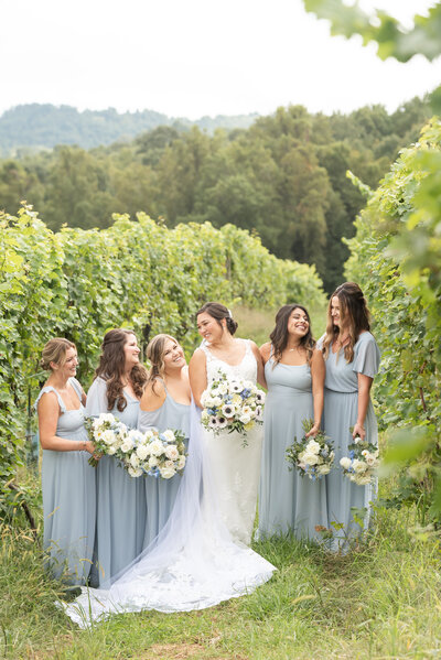 Bridesmaids standing in the vineyard holding flowers with mountains in the background at Point lookout vineyards