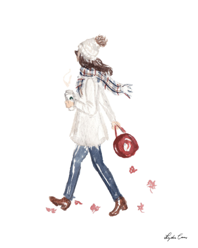 girl with pumpkin spice latte fall watercolor fashion illustration