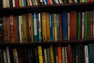 zoom in of bookshelf of old books of different colours (reds, blues, yellows)