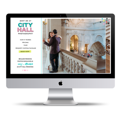 Showit website design for photography business, Meet Me at City Hall, shown on a computer