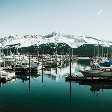 Seward Alaska Boats and Mountains