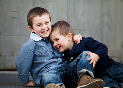 CT family photographer Karissa Van Tassel captures brothers playing in her New Haven studio