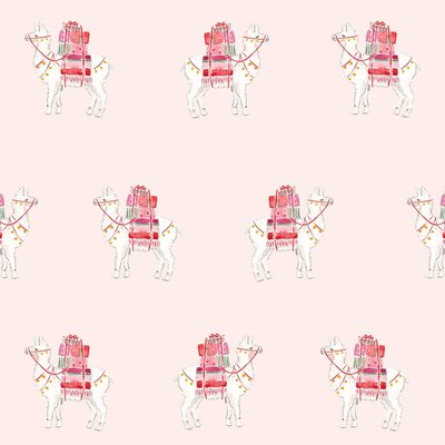 pink llamas gift wrap christmas valentines the illustrated life