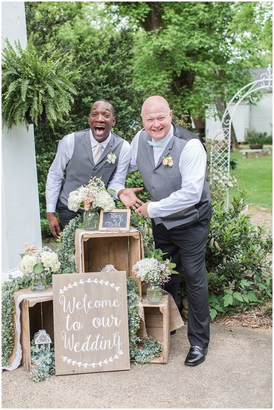 two grooms at the lgbt friendly wedding venue Golden Horseshoe Inn