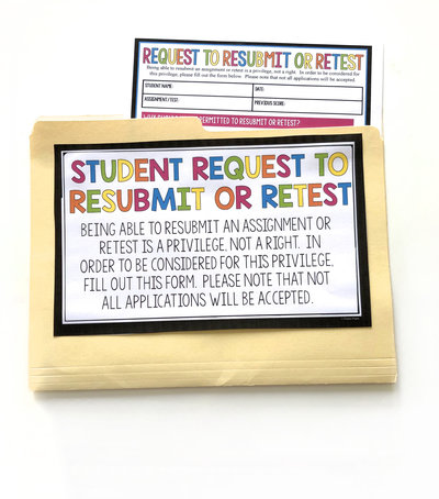 A form where teachers can allow students to request to resubmit an assignment or complete a retest