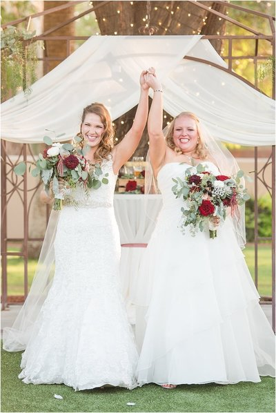 LGBTQ Brides Celebrating Getting Married at the Secret Garden Venue in Phoenix