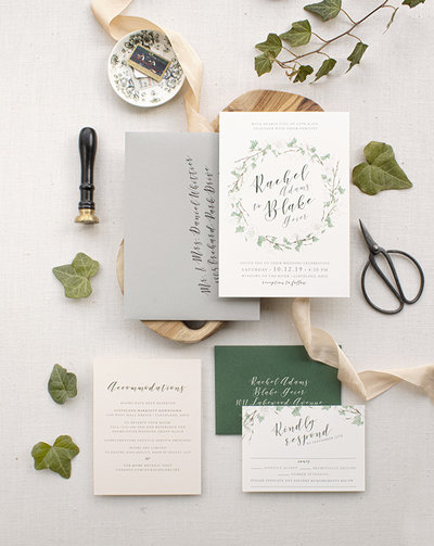 Gorgeous watercolor green ivy, greenery, pussy willows and florals intertwine together to form an elegant wreath around the couples' names. Beautiful invitation perfect for the couple who loves the outdoors, nature and romance.