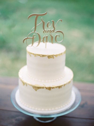 White and Gold Wedding Cake for Red Lodge Wedding