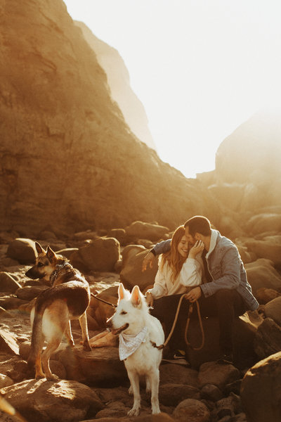 man and woman sitting on rocks with two dogs