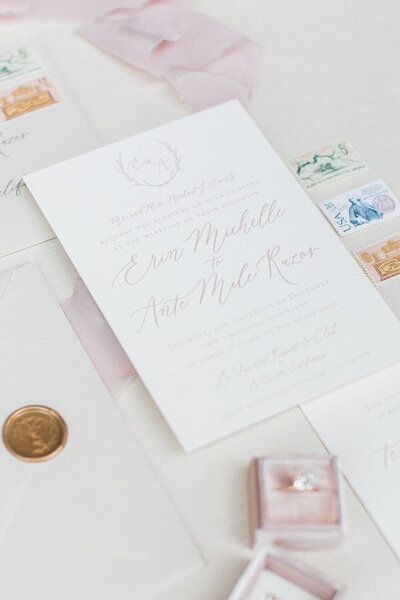 palm springs california wedding neutral and blush invitations wax seal vintage stamps 6