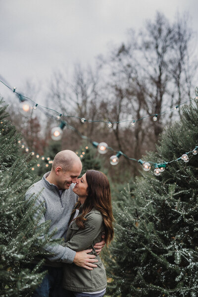 couple in christmas trees