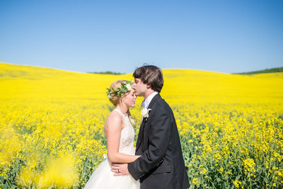 bride in field of yellow flowers