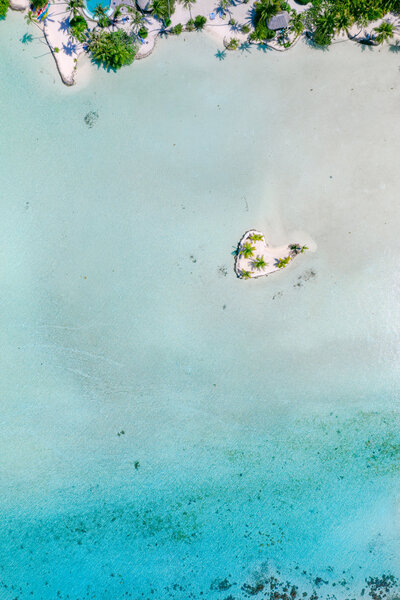 Aerial view with the heart at Le tahaa island resort