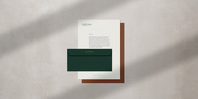 Proposed stationery design for Repose Co. Media, crafted by Rhema Design Co.