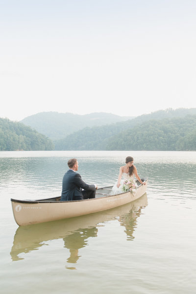 Castle Ladyhawke NC Mountain Bride and Groom in a Canoe