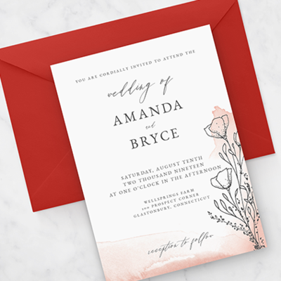 a living coral floral wedding invitation suite for the romantic bride