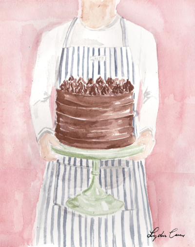 chocolate layer cake art print watercolor