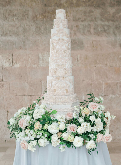 9 tier grand taupe wedding cake  Puglia Italy | MonAnnie