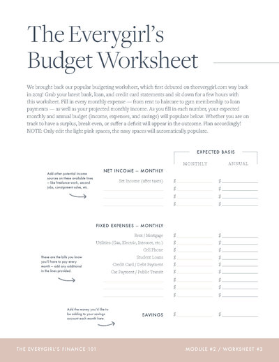 The Everygirl's Budget Worksheet (Module 002, Worksheet #3)_Page_1