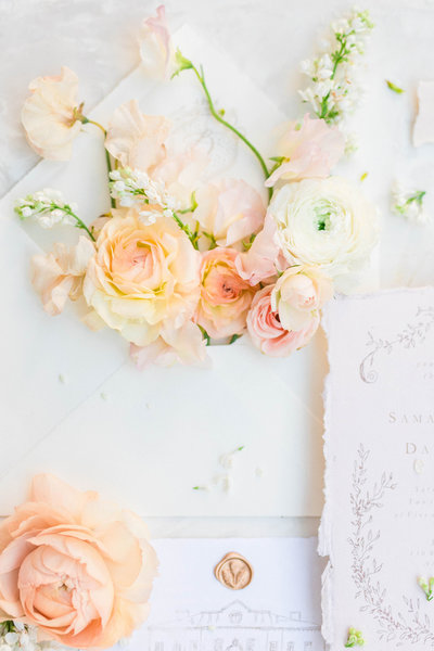 flowers and wedding invitations