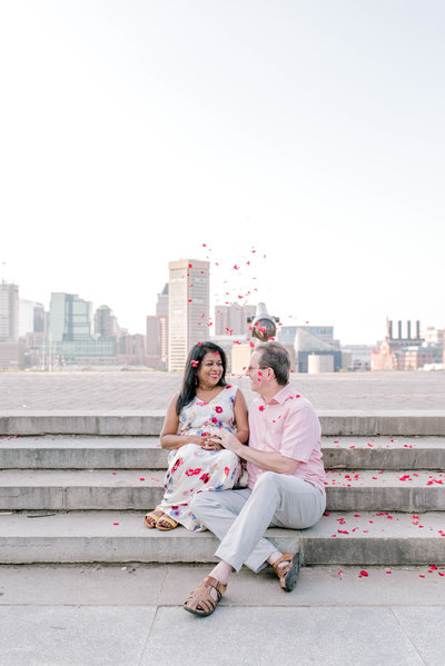 Husband and wife portrait session in downtown Baltimore