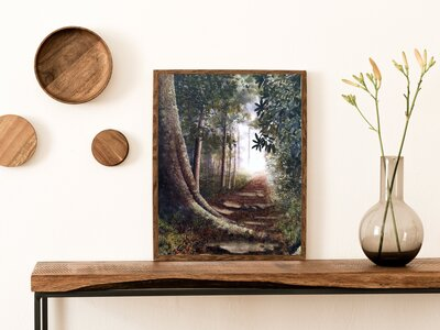 Into the Clearing, cream wall, thin wooden frame - COPY