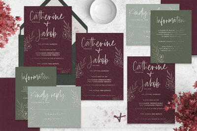 wine-green-silver-foil-wedding-invitation-suite