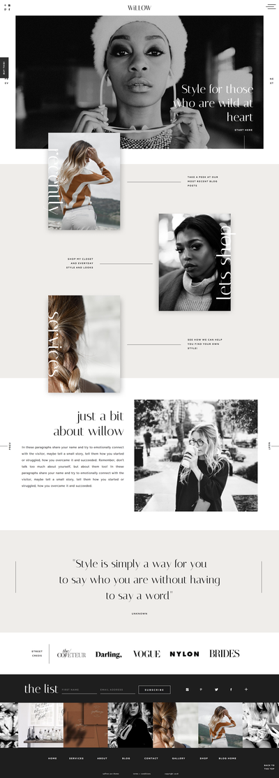 Stylish and Creative  Website Template Design for Lifestyle Bloggers  and Creatives