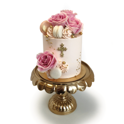 Whippt Luxe Floral Macaron Cake with baptism cross